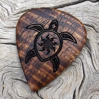 Hawaiian Koa Handmade Premium Wood Guitar Pick - Laser Engraved - Sea Turtle