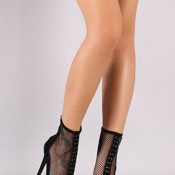 Fashion Online Shoe Republic La Suede Studded Fishnet Peep Toe Stiletto Platform Booties