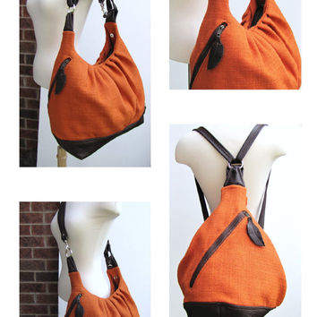 XL ORANGE Pack Bag -  Canvas and Leather Plane Bag - Carry On Backpack
