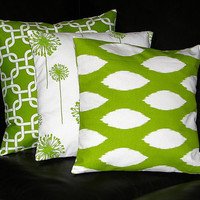 """Pillows Decorative Pillows TRIO ikat, chain link, dandelion 20x20 inch Throw Pillow Covers chartreuse 20"""" Lime Green & White"""