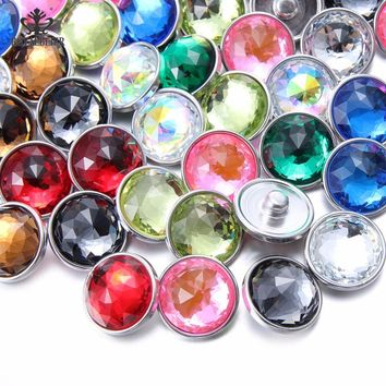20pcs/lot 18mm Snap Button Natural Crystal Glass Charms High Quality Jewelry For 20mm Snaps Bracelet 18mm Snap Jewelry KZ0962