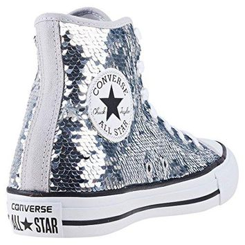 Converse Women Shoes Chuck Taylor All Star Sequin Hi Silver Textile Fashion  Sneakers 067b7b0dc37e