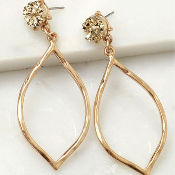 Pyrite Drop Earrings Gold