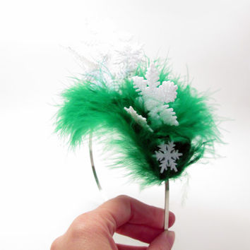 Wacky Tacky Christmas Green Snowflake Pileup - crazy elf hat - holiday party - Ugly Christmas Sweater Party