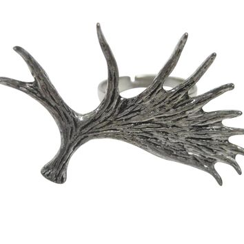 Moose Antler Adjustable Size Fashion Ring