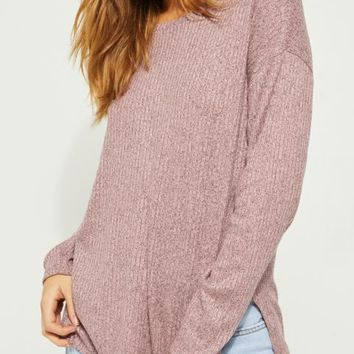 Pink Oversized Hacci Knit Top