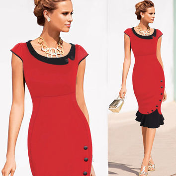 e3d829438ae New Fashion Women Vintage Button Tunic Bandage Formal Work Elega. Dresses  ...