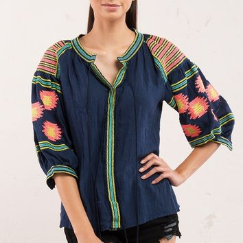 Bright Multi Color Embroidery Jacket with Balloon Sleeves