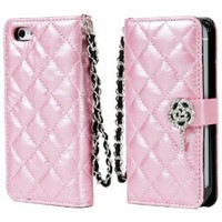 TORU iHand Diamond Quilted Fashion Wallet Case for iPhone 5 - Pink