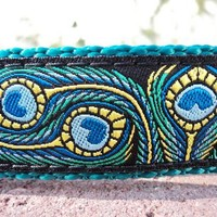 "Dog Collar 1""  Adj Quick Release - Peacock Art - Sm, Med or Lge (or as a martingale) Or see 1.5"" listing /Choose we colo"