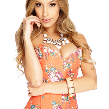 Orange Floral Print Lace Up 2Pc. Corset