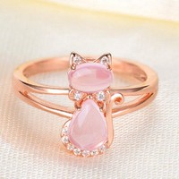 Rose Gold Crystal With Opal Stone Inlaid Cat Ring