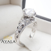 Unique Diamond Engagement Ring in 14K White Gold Filigree Design Alternative Ring 2 Carat Diamond Ring Art Deco Engagement Ring