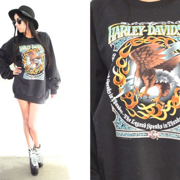Vintage 90s HARLEY DAVIDSON Black Eagle Pullover Sweatshirt // Biker Hipster Boho Gypsy // XS Extra Small / Small / Medium / Large