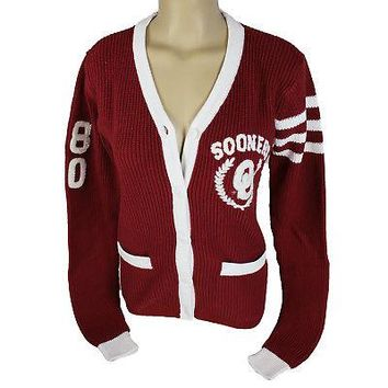 Licensed Oklahoma Sooners Cardigan W/ Front Pockets Embroidered Logo Knit Sweater KO_19_1