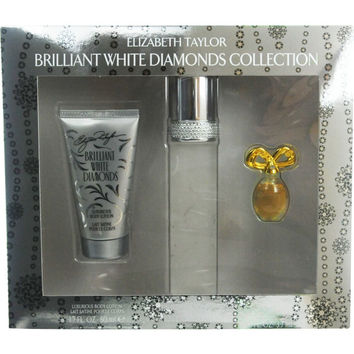 WHITE DIAMONDS BRILLIANT by Elizabeth Taylor EDT SPRAY 1.7 OZ & BODY LOTION 1.7 OZ & WHITE DIAMONDS PARFUM .12 OZ MINI
