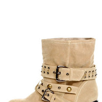 Sascha Taupe Studded and Belted Slouchy Ankle Boots