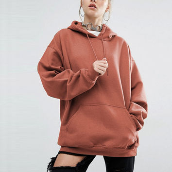 Women Hoodies Sweatshirt 2016 Autumn Female Casual Long Batwing Sleeve Hooded Tops Pockets Solid Loose Pullovers Plus Size