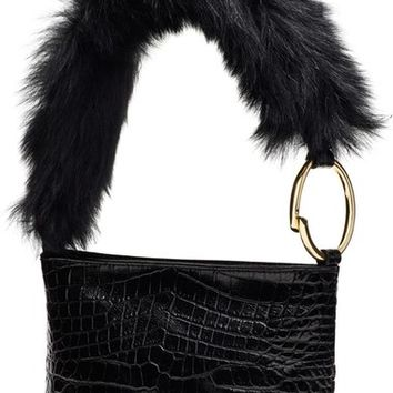 Elizabeth and James 'Finley' Leather & Genuine Sheep Fur Shoulder Bag | Nordstrom