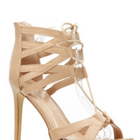 Taupe Faux Leather Cut Out Lace Up Heels