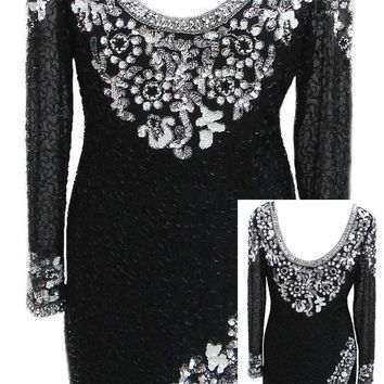 "Oleg Cassini ""Black Tie"" Evening Dress with Low Scoop Back in Black / White / Silver - Fits Size Small (US Sz 6)"