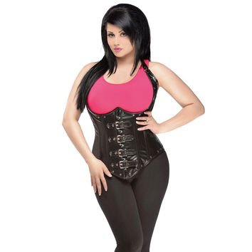 Top Drawer Steel Boned Faux Leather Underbust Corset Top Small - 6X Black