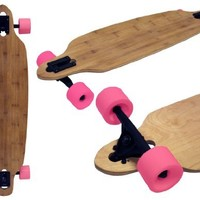 BAMBOO DROP THROUGH THRU LONGBOARD SKATEBOARD COMPLETE 70mm PINK WHEELS