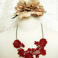 lace collar necklace -ALISHA- scarlet red burgundy wine