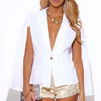 Military Button Cape Jacket Suiting Blazer White