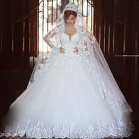 Wedding Dress 2017 Luxury Vintage Long Sleeves Lace Ball Gown romantico Bridal Gown with Veil robe de mariage Princess  Dresses