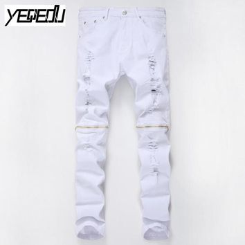 #2709 2017 Mens skinny jeans Fashion Famous brand men Hip hop jeans Distressed White jeans men Slim fit Mens designer clothes