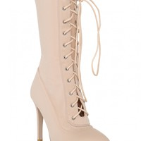 Runaway Lace Up Ankle Boots in Nude Lycra