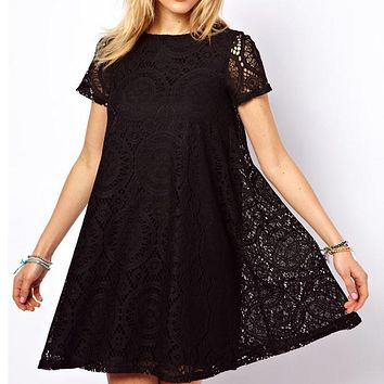 Fashion Female Summer Style A-Line Short Sleeves Summer Dress Women Hollow Out Lace Sexy Dress-1