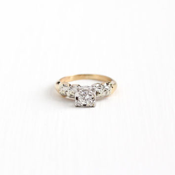 Vintage 14k White Yellow Gold 1 4 Carat Diamond Solitaire Ring - Size 5 Two c36aad86d