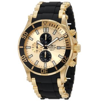 Invicta 1478 Men's Sea Spider Gold Tone Dial Rubber & Steel Bracelet Chronograph Dive Watch
