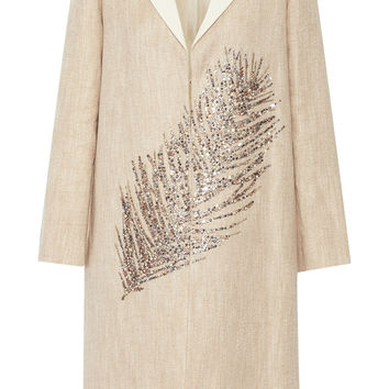 Tory Burch - Ange embellished linen and cotton-blend coat