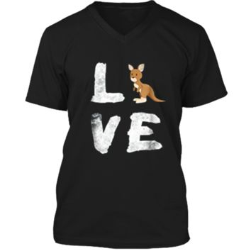 I Love Kangaroo Australia Pride Animal  Gift Tee Mens Printed V-Neck T