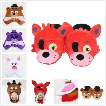 at  freddy bear chica foxy fox Mangle Bonnie Bunny cosplay cap hat cosplay plush stuffed toys  toys