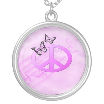 Pink Peace Round Pendant Necklace