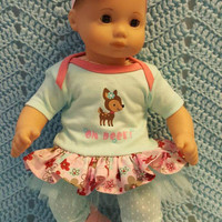 "Baby Doll Clothes ""Oh Deer!"" 15 inch doll outfit Will fit Bitty Baby® Bitty Twins®  dress, Capri leggings, socks, headband"