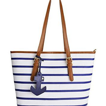 Summer Shoulder bag Womens Handbag PU Leather Purse with Sea Anchor Pendant Coofit Stripes Purse Tote