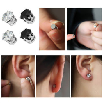 1X Exquisite Hot Mens Women Clear/Black Crystal Magnet Earrings Stud Jewelry HU