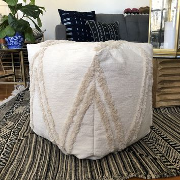 Square Mudcloth Pouf : Cream Wedding Blanket