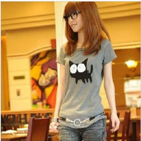 Korean Womens Lady cute cat 's collar short sleeve T-shirt top tee