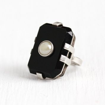 Art Deco Ring - Vintage Sterling Silver Simulated Black Onyx & Off White Pearl Statement - 1930s Size 3 1/2 Cocktail Pinky Ring 30s Jewelry
