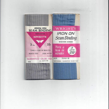 ONE, 1960s Vintage Packaged Iron On Seam Binding by Wrights, 3 Yd Package, 1/2 Inch Wide, Rayon, Non Shrink, Vintage Home Sewing Notions