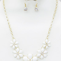 White Flower Statement Necklace