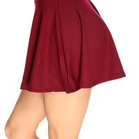 Burgundy Short Length Sexy Summer Skater Skirt