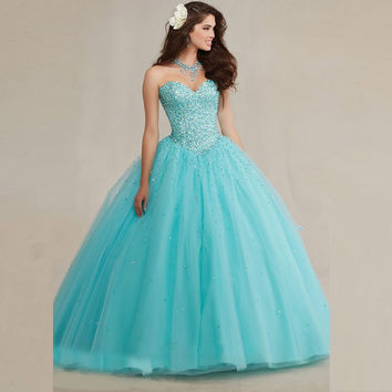 Amazing Cute Sweetheart Organza Quinceanera Dress Light Blue Ball Gowns 2016 Dress  Floor Length Prom Dress Lace Up Plus Size