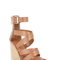Tan BCBG East Strappy High-Heel Day Sandal